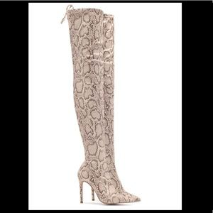 Shoes - Snakeskin print above knee high heel boots
